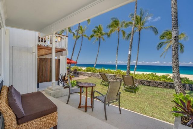 """Our delightful """"Gardenia"""" (TVU-1870) is perfect for couples and small groups (sleeps 3) alike.  The beachfront bungalow boasts a 1-bedroom queen and a cozy twin which is tucked into the living space. It also has a full kitchen where you can prepare your meals for an exquisite dining experience on the lanai. Call Greg at 1-866-638-8229 to inquire about available dates for your next vacation 🌴 https://keikibeach.com/bungalows/gardenia/ . . #keikibeachbungalows #keikibeach #northshoreoahu #northshore #pupukea #oahu #hawaii #hawaiilife #luckywelivehawaii #luckywelivehi #instahawaii #hawaiiunchained #808 #808life #808state #hawaiiliving #hawaiivacation #beachbungalow #endlesssummer #islandlife #islandliving #aloha #livealoha #alohastate #alohavibes #alohastateofmind"""